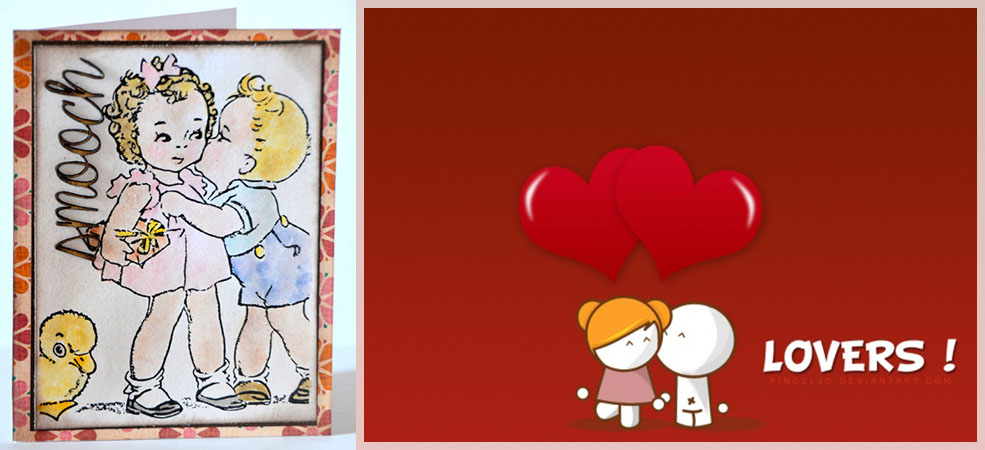 Valentine's Card - Little Boy trying to kiss a Girl