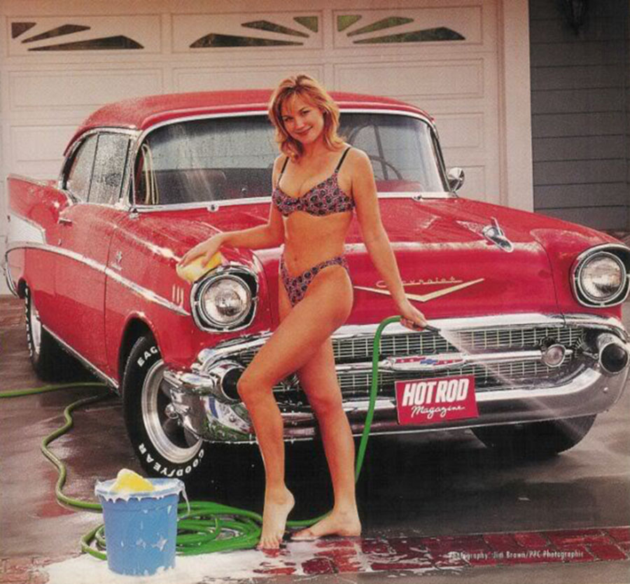 Bikini Girl washes Red Chevrolet 900x